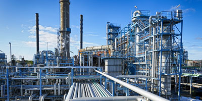 An oil refining plant.